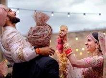 Virat Kohli with Anushka Sharma during their wedding